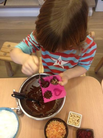 We have just made our first chocolates! It